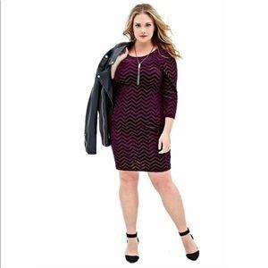 Forever 21 Plus velvet chevron dress